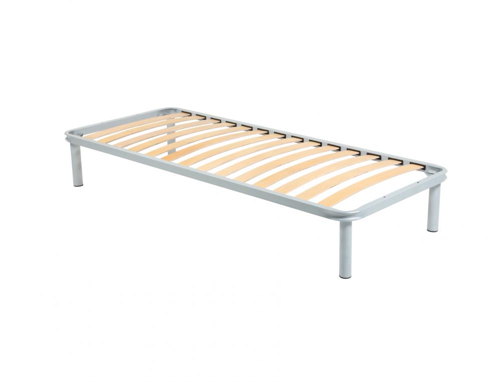 Somiera de pat cu picioare, metal si lemn stratificat, 90x200