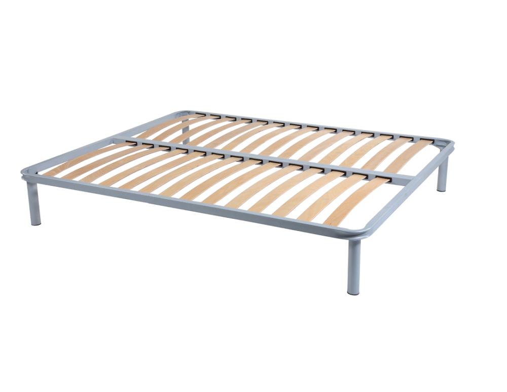 Somiera de pat cu picioare, metal si lemn stratificat, 200x200